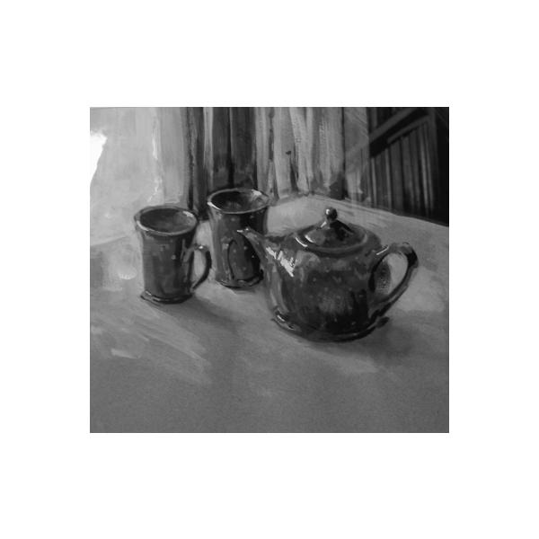 teapot and two mugs