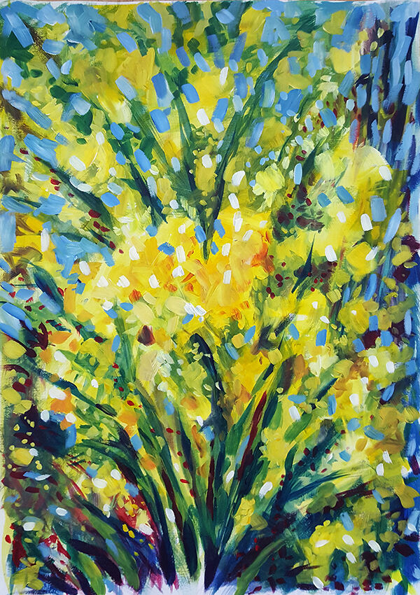 A celebratory abstract inspired by daffodils against a blue sky - an explosion of yellow, shot through with dark green streaks, little splashes of blue popping out in the background. The brushstrokes are small and impressionistic.