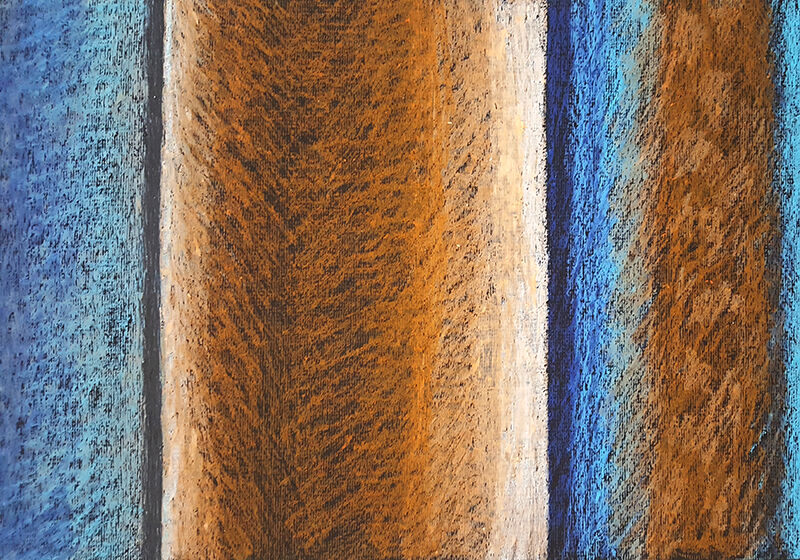 Softly-shaded stripes of blue and orange, with a few black streaks, all irregular sizes, evoking streetlights at night, being filtered through venetian blinds
