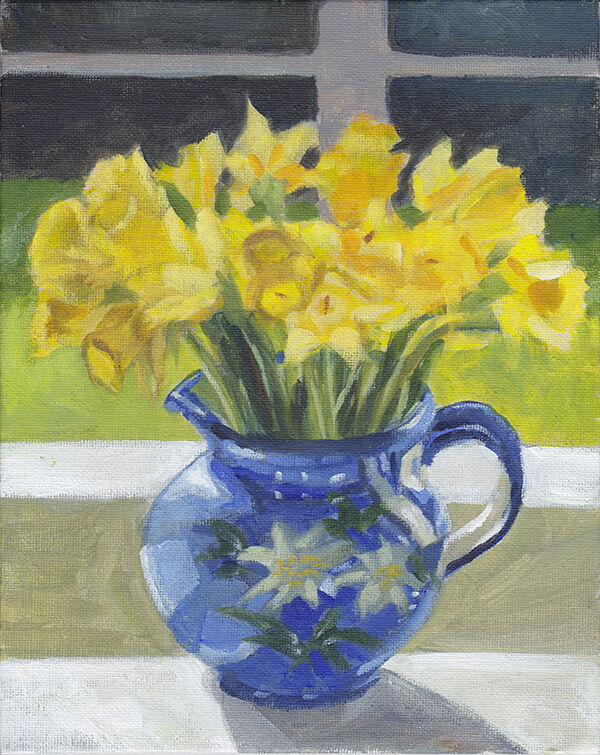 a painting of a large bunch of bright yellow daffodils in a blue vase, which has a simple painted design of white flowers. in the background is a pale grey window frame and green grass visible beyond.