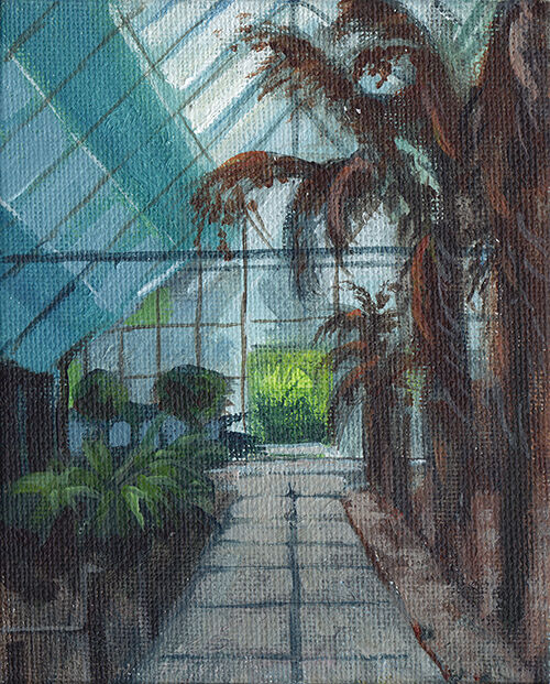 Greenhouse with Palm Trees