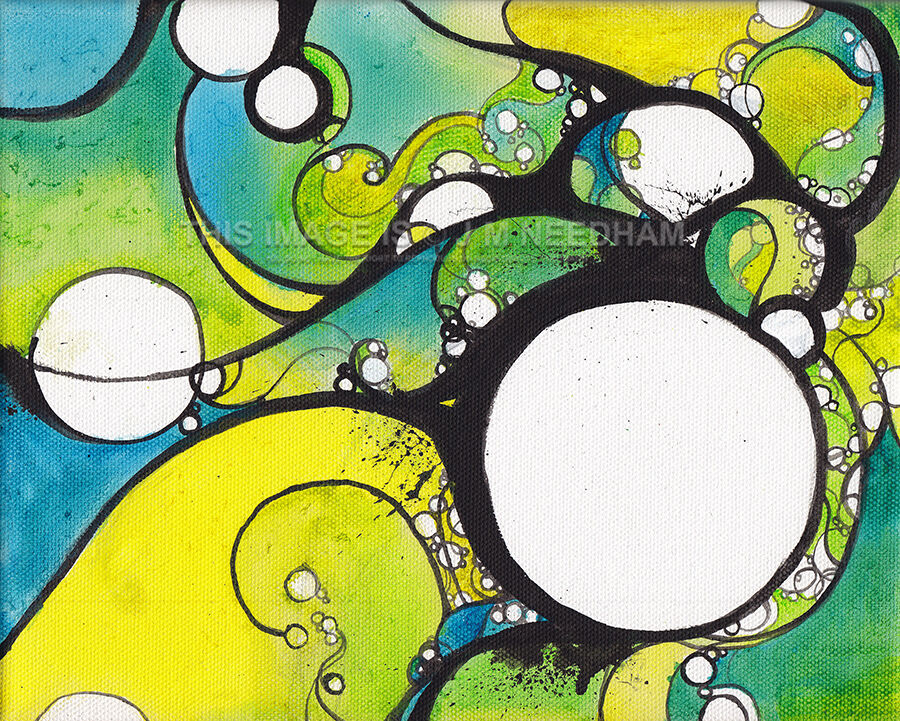White bubbles surrounded by black lines of varying thickness pop against a background of bright blues, yellows and greens