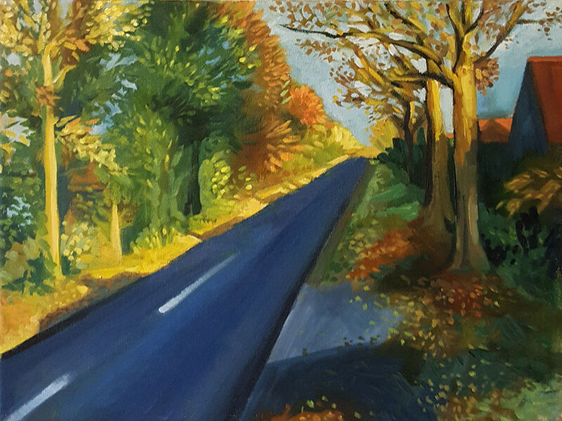 a road half bathed in warm autumn sunlight, half in shadow. a few houses are visile through the golden trees.