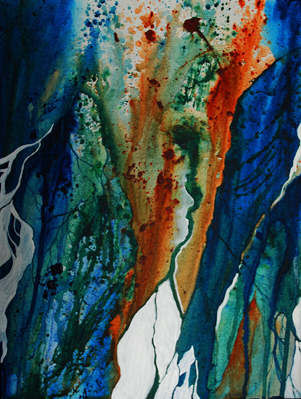 deep blue, green and rust run and splatter down the vertical canvas, with sharply-defined white shapes at the bottom giving the sense of a coastline