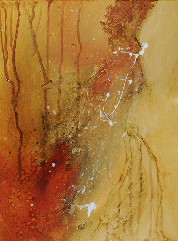 Yellows and Oranges, with a few drip effects and a white splatter - some areas of the surface have raised textural elements created with sand and ribbons which have been painted over