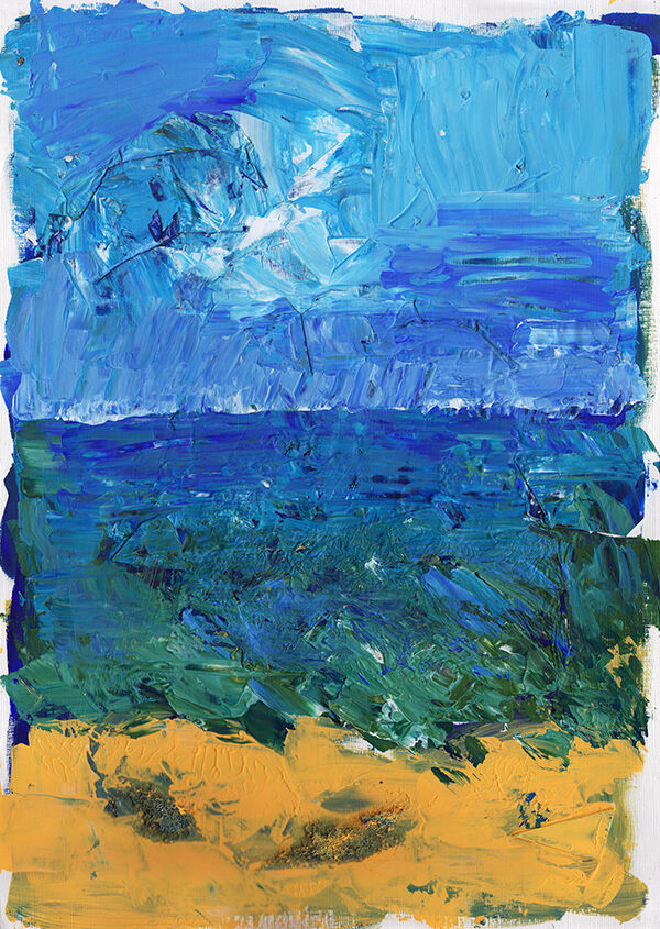 A heavily-textured mixed media abstract, the composition broken into thirds - sky, water and sand