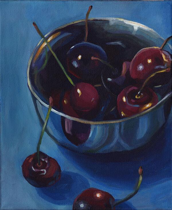 Cherries in Metal Bowl