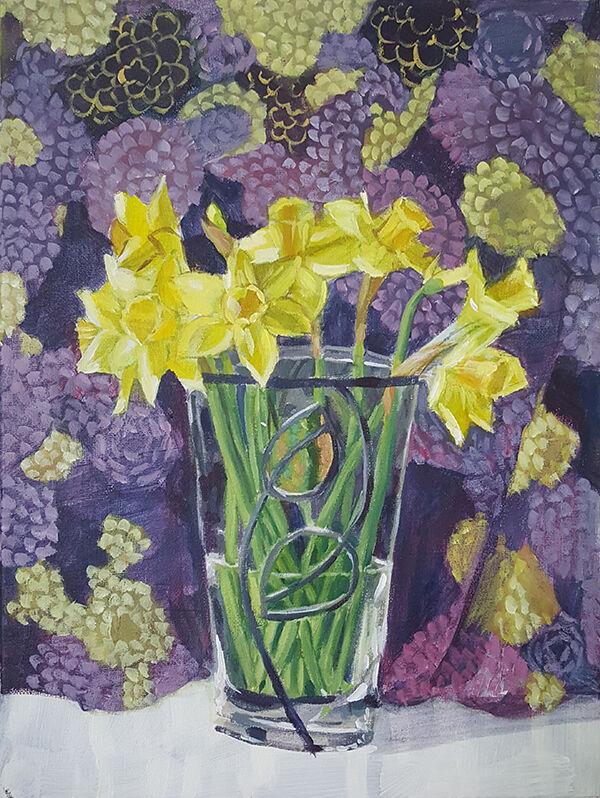 Daffodils on Purple Fabric