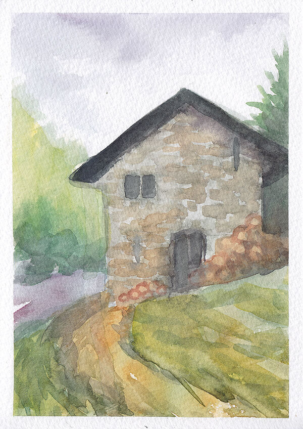 a watercolour in soft greens, purples and browns. a small stone hut sits at the side of a road, with a pile of logs outside. it is surrounded by green trees.