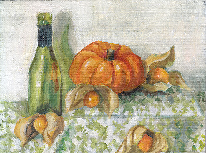 Physalis, Pumpkin and Bottle