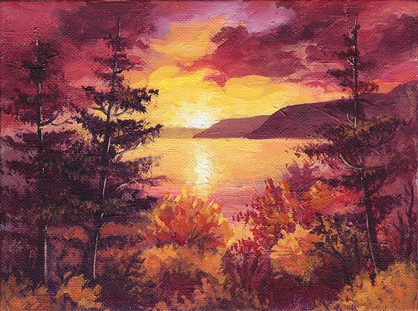 a landscape of deep reds, oranges and gold. a golden sun sets over a lake, with the sunlight reflected in the still water. deep red clouds frame it. the foreground is orange bushes and dark pine trees.