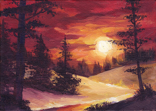 a snowy landscape; a golden sun sinks in the sky, surrounded by deep red clouds. a small river snakes through a snowy landscape bristling with tall, dark pine trees.