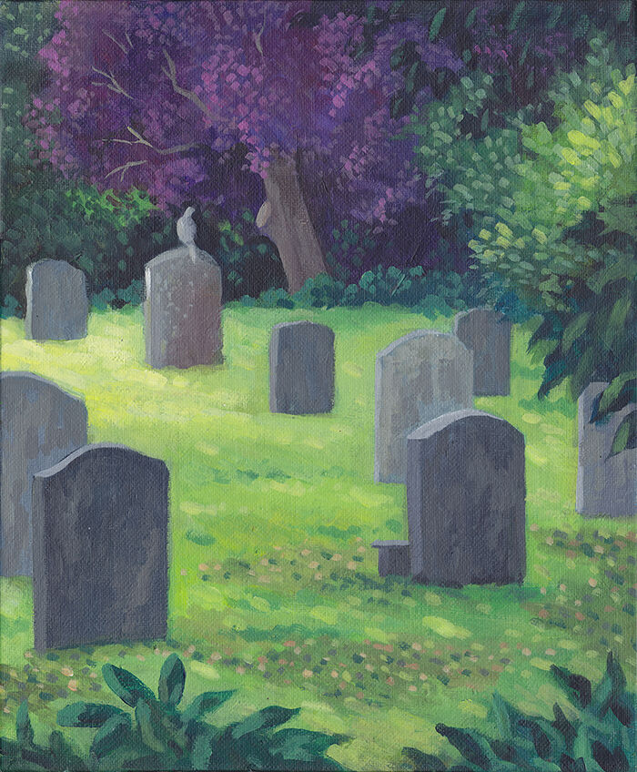 a cemetary with old, grey gravestones in bright green grass - a grey pigeon is perched on one. they are surrounded by trees, including one with vibrant purple foliage.