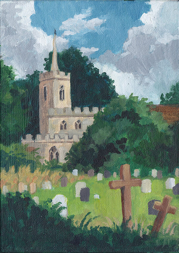 a classic english stone church peeks through darks trees on the far side of a rambling graveyard with a mix of stone grave markers and wooden crosses. white clouds float in a blue sky overhead.