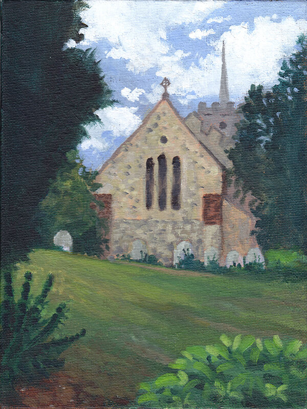 a side view of the church, which is ochre and grey stone with three tall, arched windows. the spire is just visible in the background, set against a summer sky full of fluffy clouds. the scene is framed by leafy green trees.
