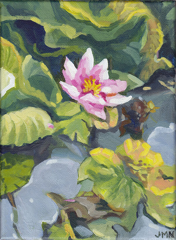 a portrait-format acryilc painting with bold brushwork: a pink water lily flower sits among green lily pads and grey water. the colours are bright and warm.