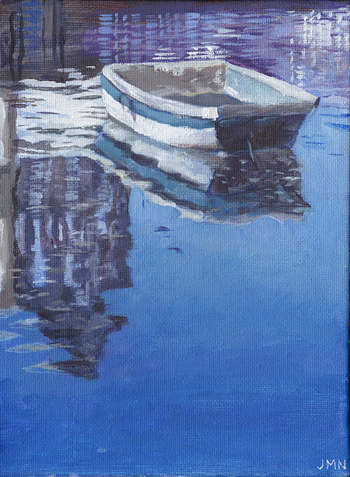 White Boat Reflection