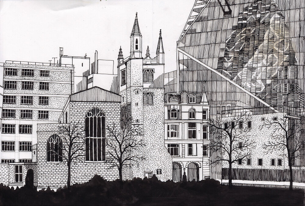 a pen and ink drawing of london, featuring an old church surrounded by blocky office buildings and a glass skyscraper reflectin the Gherkin