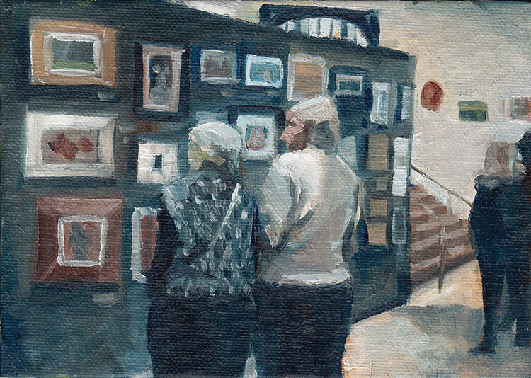an elderly couple inspecting a wall of paintings, in a palette of muted blues, creams and browns
