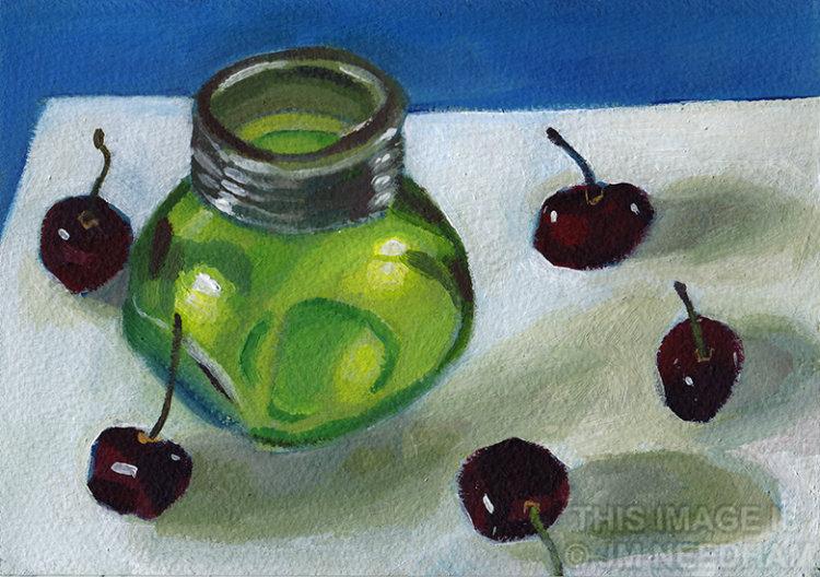 Cherries and Glass Jar