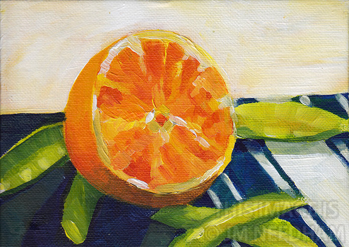Orange on a Striped Napkin