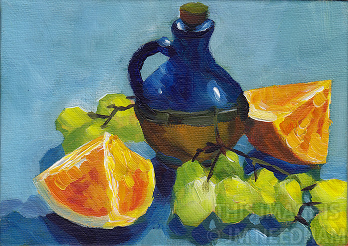 Blue Jar with Oranges and Grapes