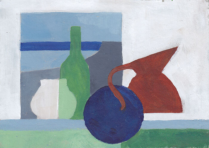 Strangely flattened bottles, jugs and a plate sit alongside a window with a view looking out on the sea. the scene has been reduced to flat-coloured, geometric shapes with a palette of white, blue, green and just a pop of rust.