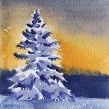 Snowy Tree At Sunset