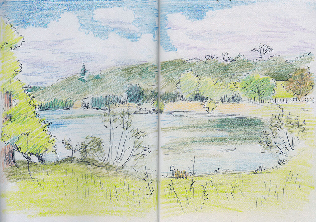 biro drawing coloured with pencil, showing a lake surrounded by grassy banks and green trees on a sunny day