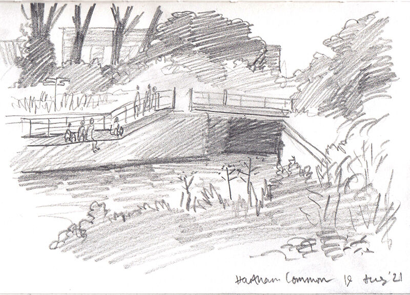 a pencil sketch of a river with a bridge over it, people are standing on the path