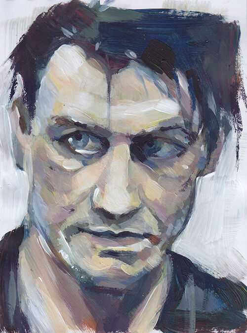 a portrait of Till Lindemann, vocalist of Rammstein, on a white background. The colours are mutes and the brushstrokes visible. His head is tilted downwards slightly, and he is looking to the left.