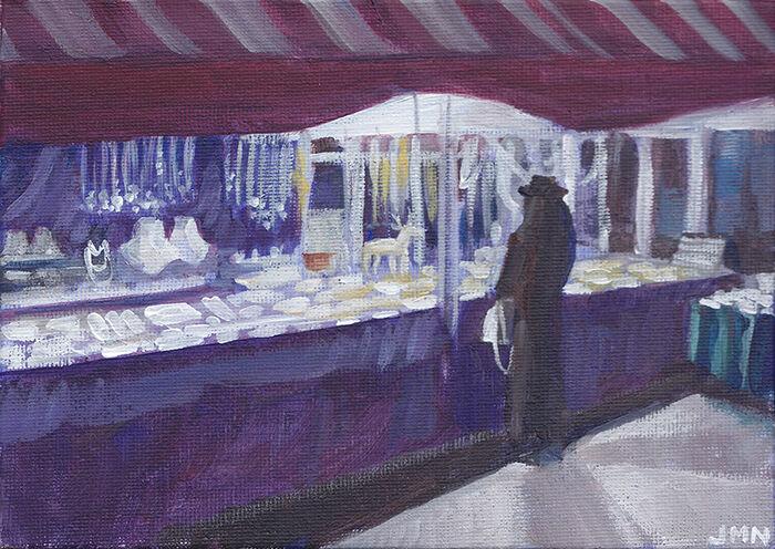 Woman at a Christmas Market Stall