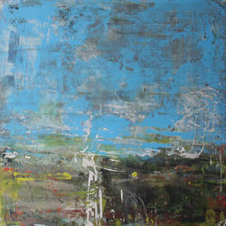 Blue skies 60x60cm mixed media on canvas