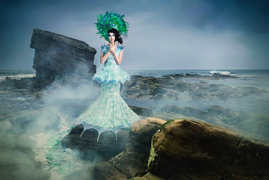 1 Re evolution Joan Hall Photography Fantasy Fashion Photography Fantasy Photography Recycle-Plastic bottlespollution Ocean Sea save bubble wrap dress plastic headdress 039