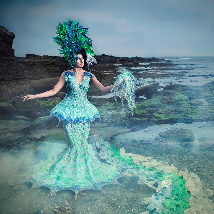 2 Deliverance of Life Joan Hall Photography Fantasy Fashion Photography Fantasy Photography Recycle-Plastic bottles pollution Ocean Sea save bubble wrap dress plastic headdress 305r