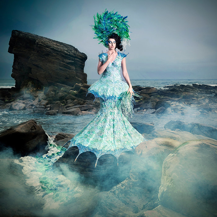 3 Saviour of Being Joan Hall Photography Fantasy Fashion Photography Fantasy Photography Recycle-Plastic bottlespollution Ocean Sea save bubble wrap dress plastic headdress -071