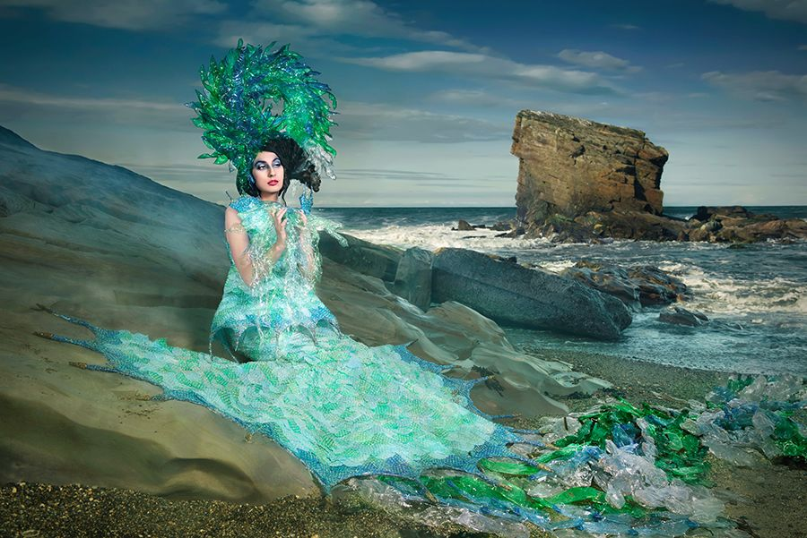4 Sentinel of the Sea Joan Hall Photography Fantasy Fashion Photography Fantasy Photography Recycle-Plastic bottlespollution Ocean Sea save bubble wrap dress plastic headdress 2499