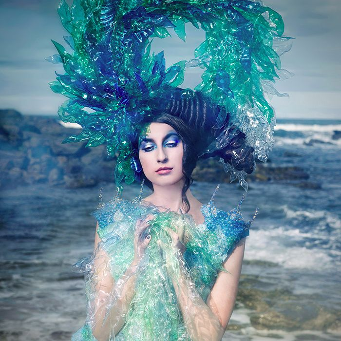 5 Emissary of change Joan Hall Photography Fantasy Fashion Photography Fantasy Photography Recycle-Plastic bottlespollution Ocean Sea save bubble wrap dress plastic headdress 2245