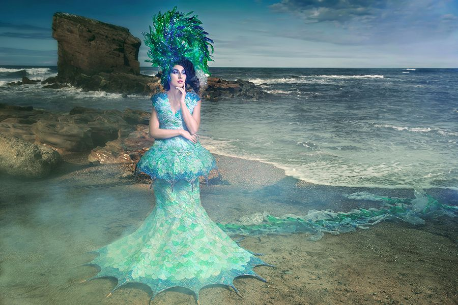 6 Moral Reflection Joan Hall Photography Fantasy Fashion Photography Fantasy Photography Recycle-Plastic bottlespollution Ocean Sea save bubble wrap dress plastic headdress  2427