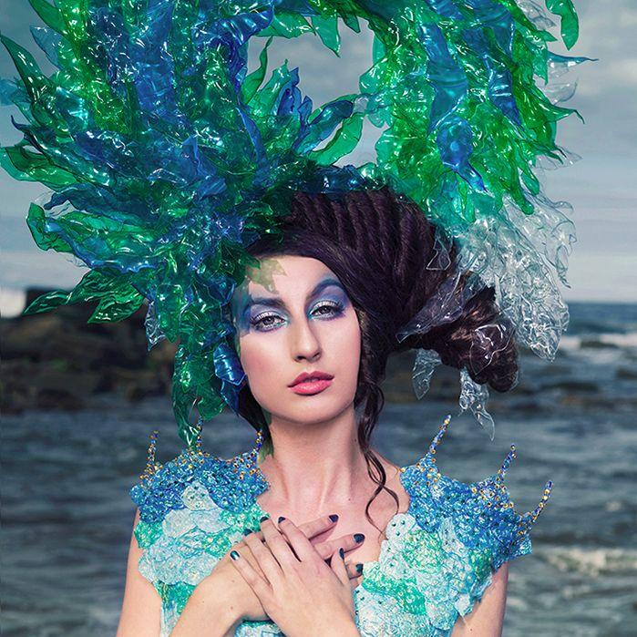 7 Burdon of Hope Joan Hall Photography Fantasy Fashion Photography Fantasy Photography Recycle-Plastic bottlespollution Ocean Sea save bubble wrap dress plastic headdress  2335
