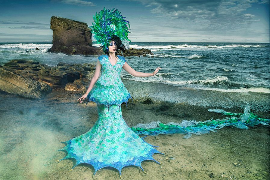 8 Tide of no Return  Joan Hall Photography Fantasy Fashion Photography Fantasy Photography Recycle-Plastic bottlespollution Ocean Sea save bubble wrap dress 2417