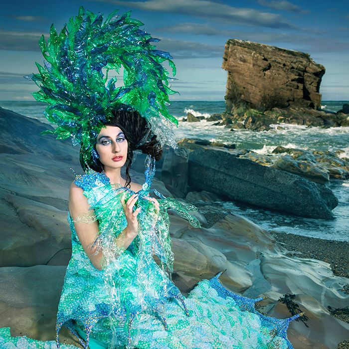 9 Obedience of Conscience -Joan Hall Photography Fantasy Fashion Photography Fantasy Photography Recycle-Plastic bottlespollution Ocean Sea save bubble wrap dress plastic h-2507