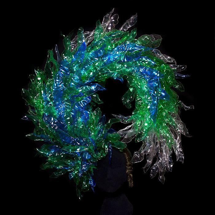Recycled bottle headdress fantasy fashion