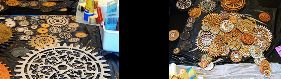 Timeless Headdress making of cogs cutout