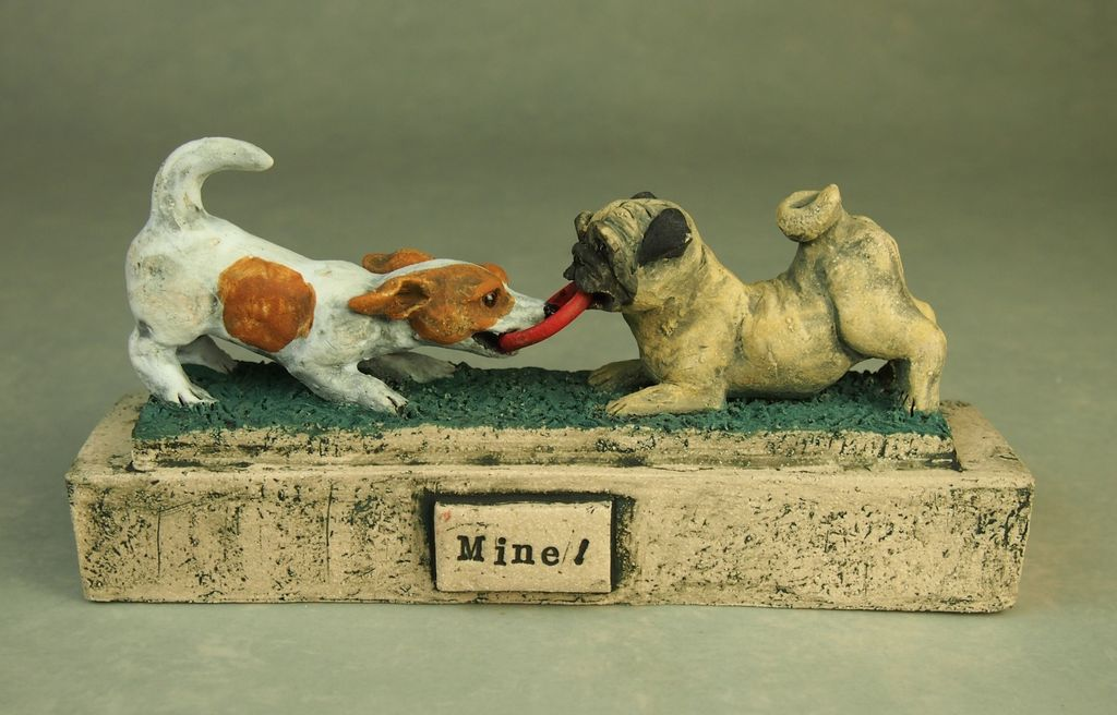 """""""Mine"""", miniature tableau of dogs playing, 2019"""
