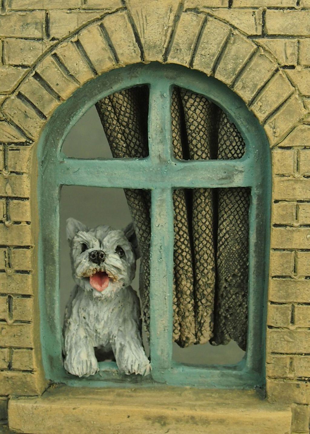 """""""Watchdog Westie"""", detail of sculpture 2019"""
