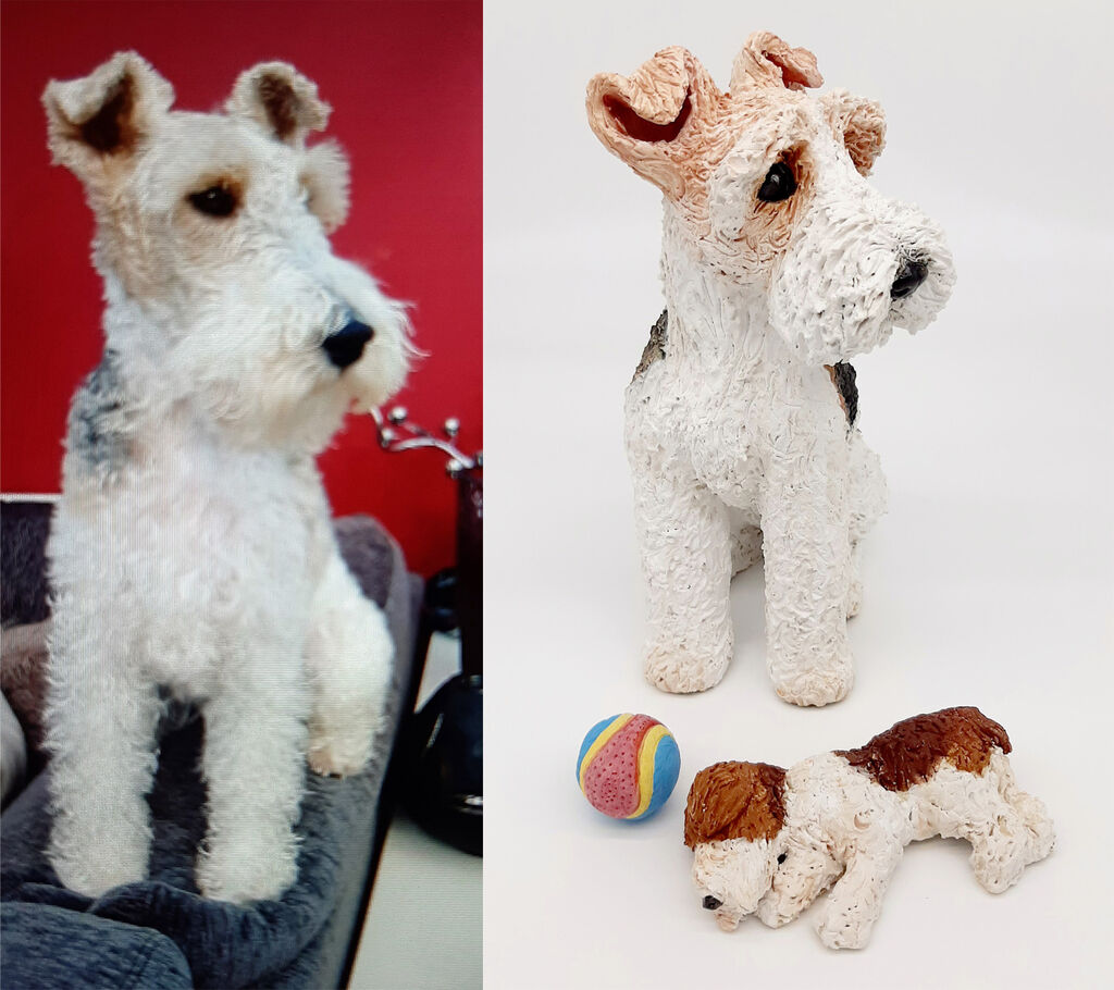 Roxi & her favourite toys, Wire Fox Terrier Commission 2020
