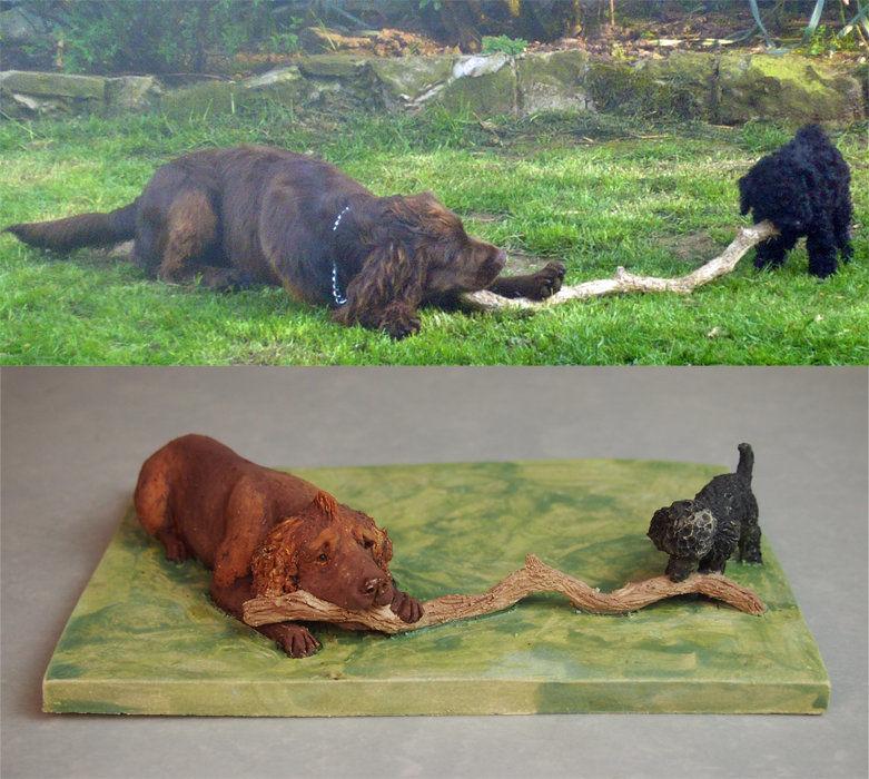 Togo & Jake, Miniature Commission, 2018