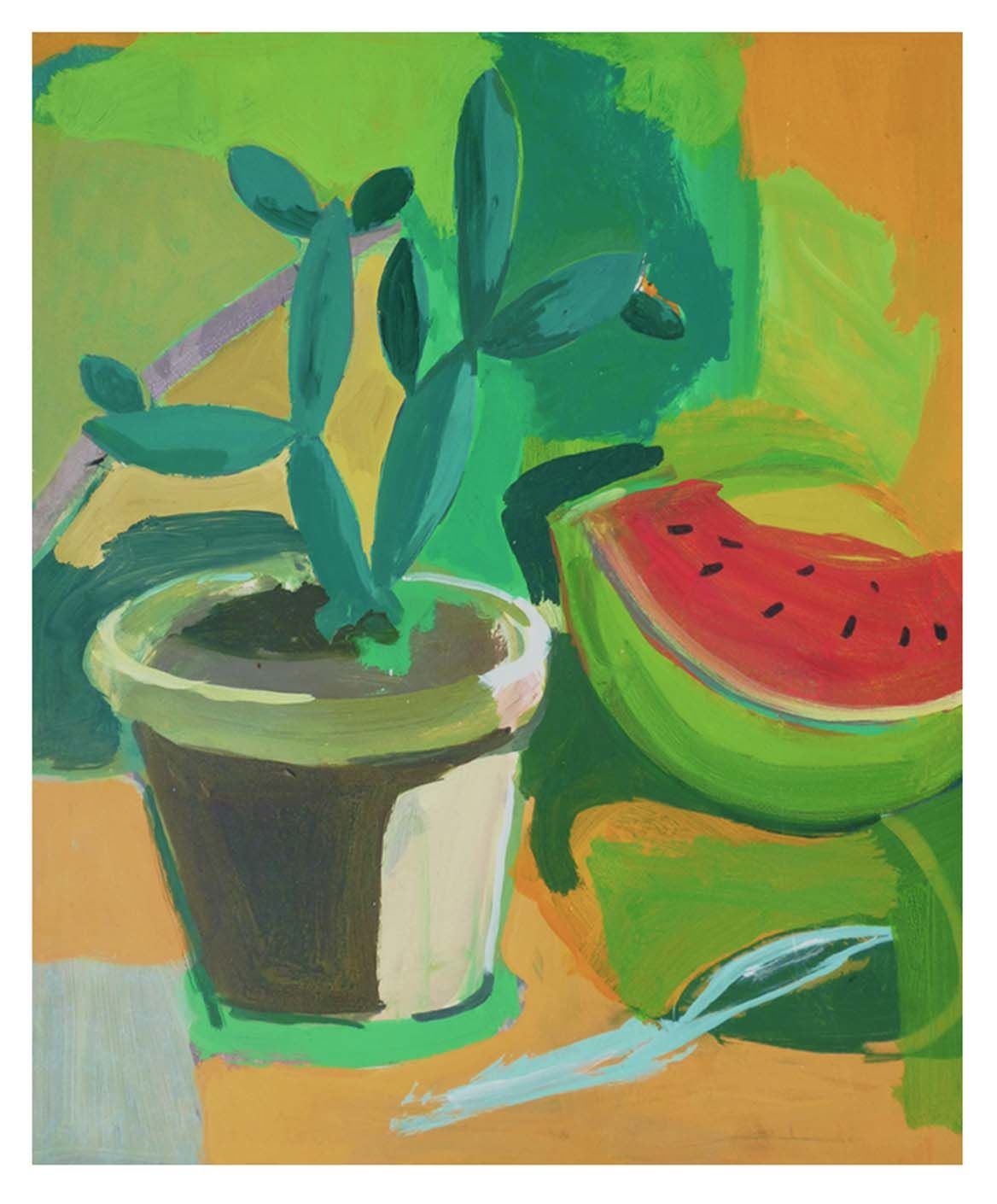 Still life with cactus & watermelon