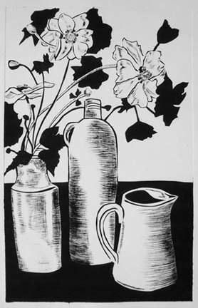 Still life with pots and japanese anemones
